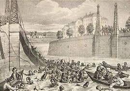 effondrement du pont de Maine à Angers à 1850