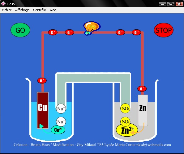 logiciel de simulation de la pile Daniell