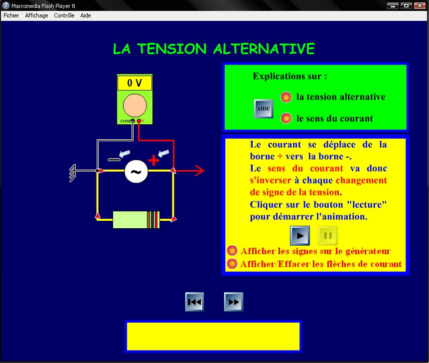 logiciel de simulation de la tension alternative