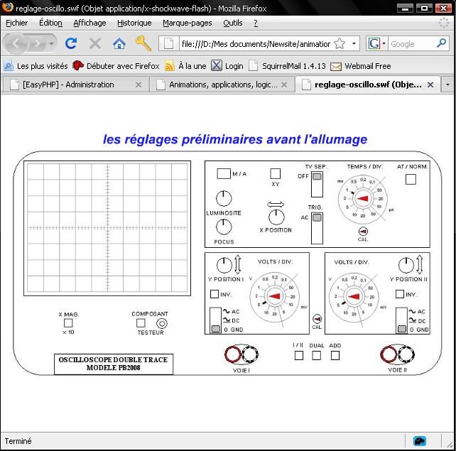 un logiciel de connaissances et de réglage de l'oscilloscope برنم لكيفية استعمكال والتعرف على كاشف الدذبذب