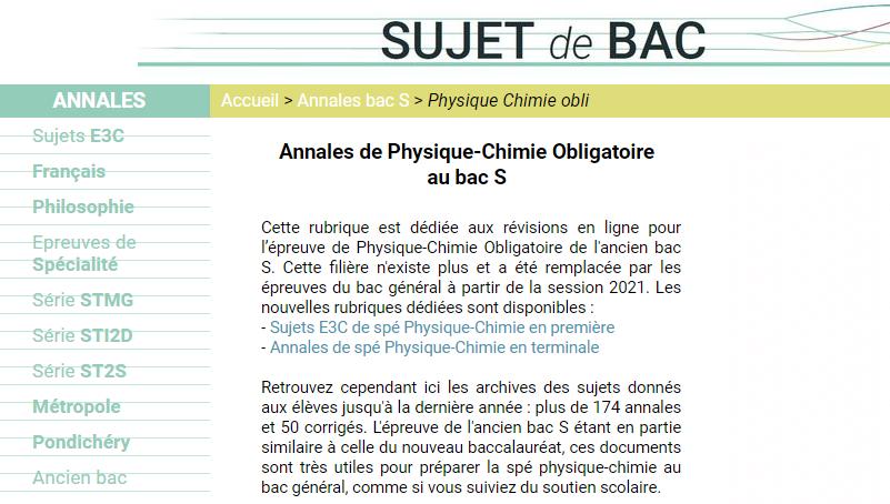 sujets bac français de physique chimie depuis 2003