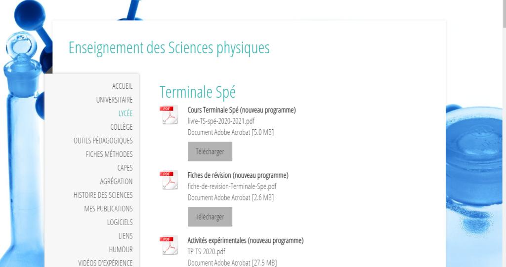 site de science physique , programme français